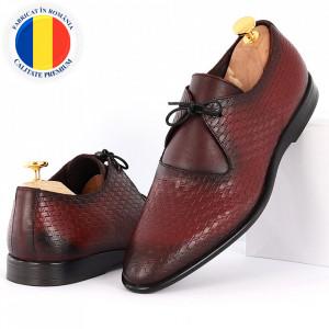 Pantofi din piele naturală pentru bărbați cod 9092 Bordo