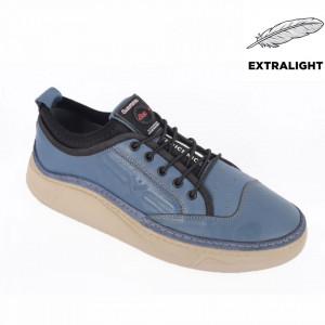 Pantofi din piele naturală pentru bărbați cod 9202 Mavi
