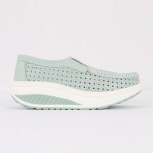 Pantofi din piele naturală pentru dame cod A522 L.Blue