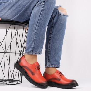 Pantofi din piele naturală portocalie Cod 483