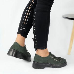 Pantofi pentru dame cod 1466D2 Verzi - Pantofi pentru dame, din piele ecologica întoarsă cu închidere prin șiret - Deppo.ro