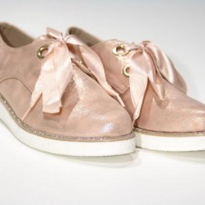 Pantofi pentru dame cod 1815 Roz - Pantofi roz din piele ecologică de înalta calitate cu talpă din silicon - Deppo.ro