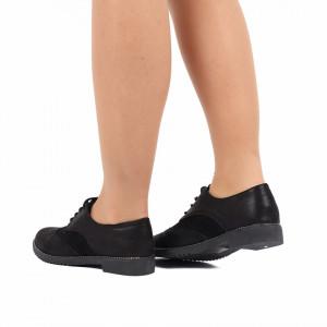 Pantofi pentru dame cod 70020 Negri - Pantofi din piele ecologică cu închidere prin șiret foarte comozi și eleganți - Deppo.ro