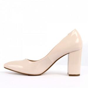 Pantofi pentru dame cod SA17-79A Beige - Pantofi cu toc din piele ecologică lăcuită  Toc subțire  Calapod comod - Deppo.ro
