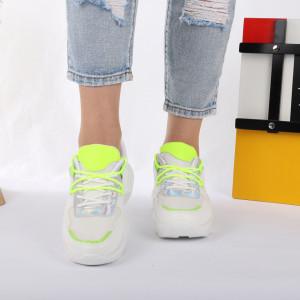 Pantofi Sport cod AB123 Albi - Pantofi sport pentru dame cu talpă înaltă din spumă foarte comodă și ușoară -piele ecologică cu închidere prin șiret - Deppo.ro
