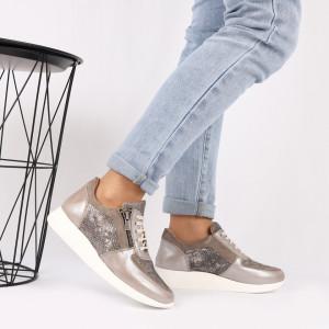 Pantofi sport din piele naturală bej Cod 495