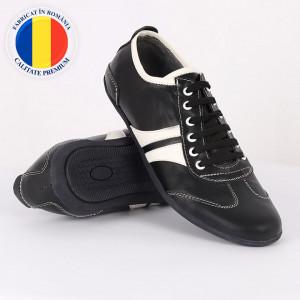 Pantofi sport din piele naturală negri cod 3242