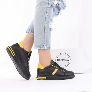 Pantofi Sport Laney Black - Pantofi sport pentru dame cu talpă înaltă din spumă foarte comodă și ușoară -piele ecologică întoarsă cu închidere prin șiret - Deppo.ro