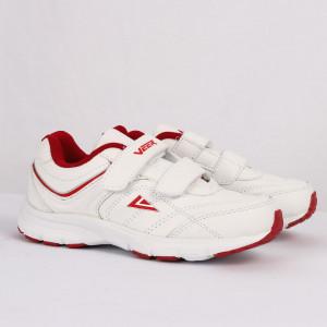 Pantofi sport pentru băieți cod 90232 Albi cu roșu - Pantofi sport pentru băieți, foarte comozi, ideali pentru ieșiri si practicarea exercitiilor în aer liber - Deppo.ro