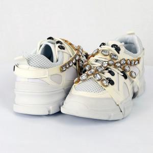 Pantofi Sport pentru dame Cod 2018-321 Albi - Pantofi sport din piele ecologică întoarsă Model cu sclipici Închidere prin șiret Foarte comfortabili - Deppo.ro