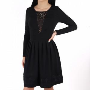 Rochie Braelyn Black - Rochie casual cu mânecă lungă, pune-ți silueta în evidență și atrage toate privirile, aspectul asimetric petrecut de la baza rochiei aduce un aer inedit ținutei. - Deppo.ro