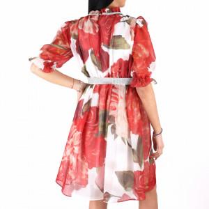 Rochie Brianna Red - Rochie deasupra genunchilor, lejeră cu un design floral pe toată suprafața, guler cu ștrasuri și curelușă cu ștrasuri - Deppo.ro