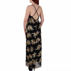 Rochie Elaina Neagră - Rochie lungă neagră elegantă potrivită pentru orice ocazie cu modele florale deosebite,simte-te atrăgătoare purtând această rochie și strălucește la urmatoarea petrecere. - Deppo.ro