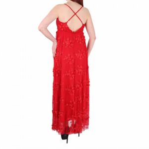 Rochie Elaina Roșie - Rochie lungă roșie, elegantă potrivită pentru orice ocazie cu modele florale deosebite,simte-te atrăgătoare purtând această rochie și strălucește la urmatoarea petrecere. - Deppo.ro
