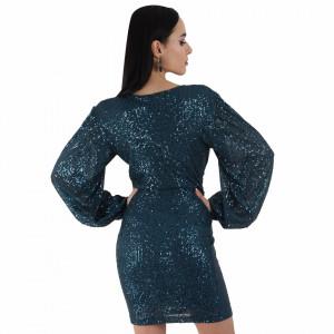 Rochie Helen Green - Rochie elegantă cu mâneci lungi și paiete, simte-te atrăgătoare purtând această rochie și strălucește la urmatoarea petrecere. - Deppo.ro