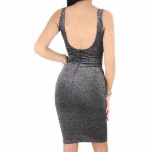 Rochie Lorin Grey - Rochie elegantă stralucitoare, pune-ți silueta în evidență și atrage toate privirile, rochie conică, din material elastic cu fir lurex, decolteul generos și spatele gol, fronseul din talie îți pune în valoare formele, iar aspectul asimetric petrecut de la baza rochiei aduce un aer inedit tinutei. - Deppo.ro