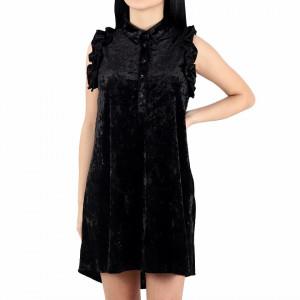 Rochie Mabel Black - Rochie neagră fără mâneci din material tip catifea şi închidere cu doi nasturi, pune-ți silueta în evidență și atrage toate privirile, - Deppo.ro