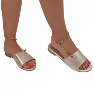 Saboți pentru dame cod OD363 Gold - Pantofi cu un model, foarte confortabili potriviți pentru birou sau evenimente speciale. - Deppo.ro
