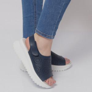 Sandale pentru dame din piele naturală cod PL2014 Navy