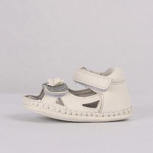 Sandale pentru fete cod CP59 Albe - Sandale pentru fete cu tălpic din piele naturală - Deppo.ro