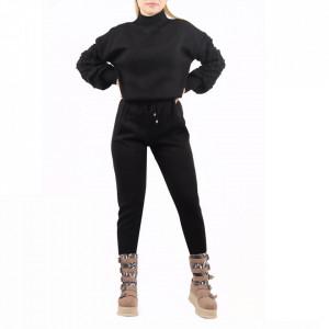 Trening tricot damă Black - Compleu pentru femei, compus din bluză, pantalon Material ușor elastic Pantalon cu buzunareoar  laterale - Deppo.ro