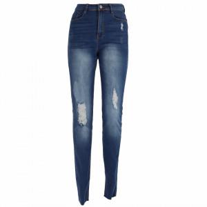Pantaloni de blugi pentru dame cod 42096 Albastri