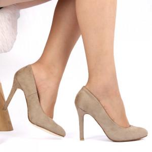 Pantofi cu toc pentru dame cod TGLGW Beige