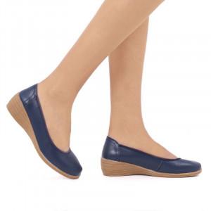 Pantofi din piele naturală cod 2111 Albaştri