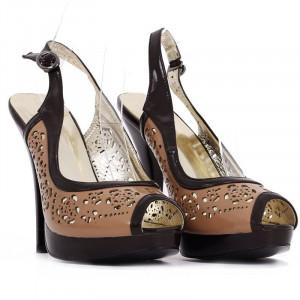 Pantofi cu toc cod TN0036 Maro