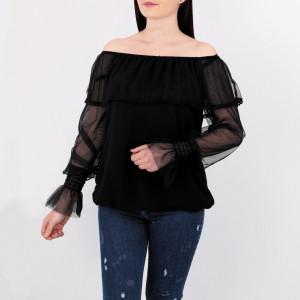 Bluză Audrey Black - Creeaza-ti propriul stil…fa-l sa fie unicpentru tine, dar identificabilpentru altii Bluză elegantă, model pe umeri, Mânecădin pânză - Deppo.ro