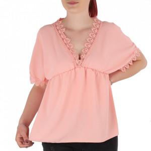 Bluză pentru dame tip cămășuță cod ZBB2 Pink
