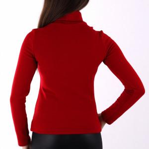 Bluză Tina Red - Bluză pentru dame cu mânecă lungă, pe gât decor cu şnur - Deppo.ro