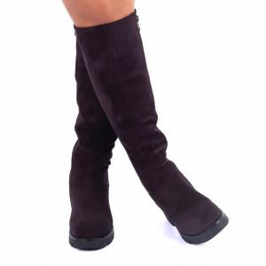 Cizme cod A-2 Purple - Cizme din piele ecologica intoarsă, lungime de 42 cm și toc de 8 cm - Deppo.ro
