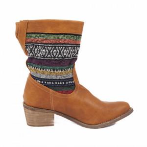 Cizme Feria Camel - Cizme din piele ecologică cu toc și cu un design abstract din material elastic - Deppo.ro