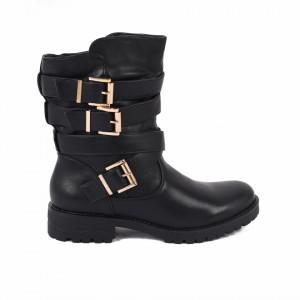 Cizme Renida Black - Cizme pentru dame din piele ecologică decorate cu inserții metalice - Deppo.ro