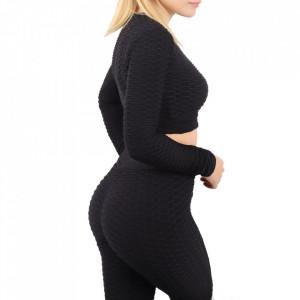 Compleu sport damă Black - Compleu pentru femei, compus din bluză, pantalon Material ușor elastic Pantalon cu buzunareoar  laterale - Deppo.ro