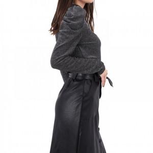 Fustă Voar Neagră - Fustă midi este un model de fustă elegant/casual din piele ecologică cu talie înaltă și curea detașabilă - Deppo.ro