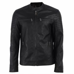 Geacă din piele ecologică pentru bărbați cod L628 Neagră - Geacă din piele ecologică pentru bărbați model primăvară-toamnă pe negru - Deppo.ro