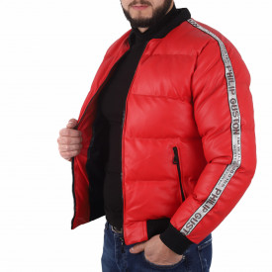 Geacă Philip Red - Geacă cu guler îmblănit din piele ecologică pentru iarnă/primavară, interior căptuşit buzunare laterale și închidere cu fermoar. - Deppo.ro