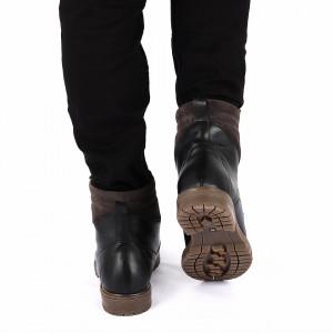 Ghete din piele naturală cod 150M Negre - Ghete din piele naturală cu interior îmblănit și inchidere cu fermoar - Deppo.ro