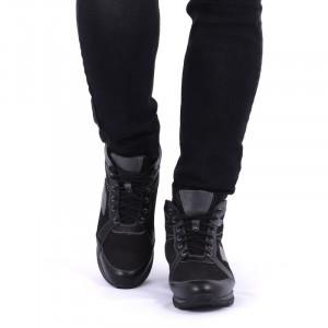Ghete din piele naturală cod 47350 Negre - Ghete din piele naturală cu căptuşit și inchidere cu șiret - Deppo.ro