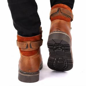 Ghete din piele naturală cod 517 Maro - Ghete din piele naturală cu interior îmblănit și inchidere cu șiret și scai in partea posterioara - Deppo.ro