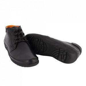 Ghete din piele naturală cod 538 Negru - Ghete din piele naturalăr, închidere prin șiret, stil casual. - Deppo.ro