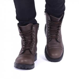 Ghete pentru bărbați cod 41953 Maro - Ghete din piele ecologică cu închidere cu șiret și fermoar - Deppo.ro