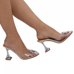 Pantofi Cinderella Gold - Pantofi cu toc cu un model deosebit din piele ecologică, foarte confortabili potriviți pentru birou sau evenimente speciale. - Deppo.ro