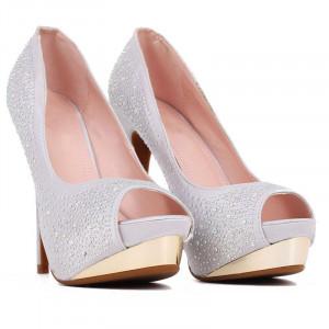 Pantofi cu toc cod 22271 Arginti