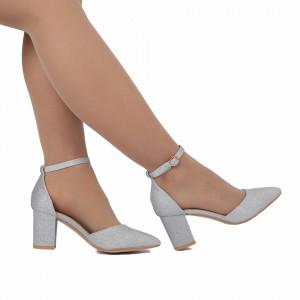 Pantofi cu toc cod 30875 Arginti