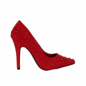 Pantofi cu toc cod 5C0090 Roși - Pantofi cu toc ascuțit din piele ecologică întoarsă - Deppo.ro