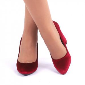 Pantofi cu toc cod C51B Wine Red - Pantofi cu vârf rotund din piele ecologică întoarsă, foarte confortabili cu un calapod comod - Deppo.ro
