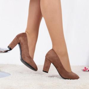 Pantofi cu toc cod EK0005 Kaki - Pantofi cu toc din piele ecologică cu un design unic, viața este scurtă, așadar tocurile nu ar trebui să fie altfel - Deppo.ro